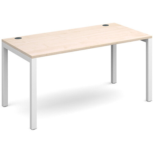 Connex single desk 1400mm x 800mm - white frame, maple top