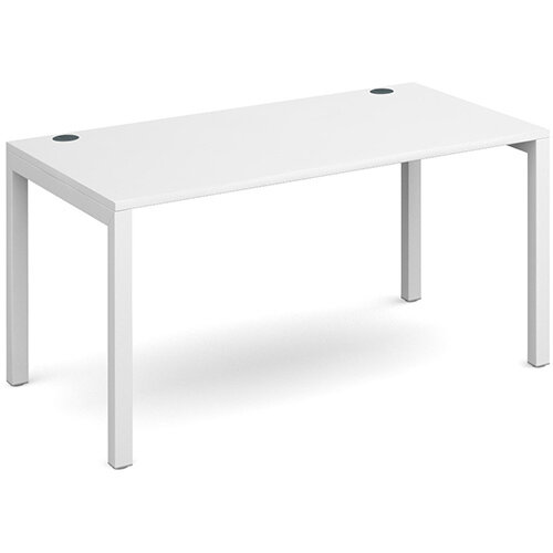 Connex single desk 1400mm x 800mm - white frame, white top