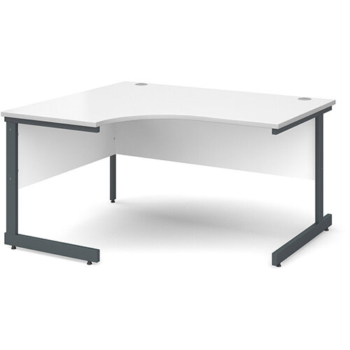 Contract 25 left hand ergonomic desk 1400mm - graphite cantilever frame, white top