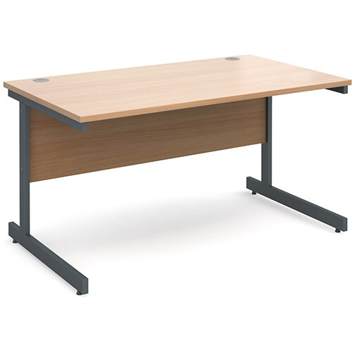 Contract 25 straight desk 1400mm x 800mm - graphite cantilever frame, beech top