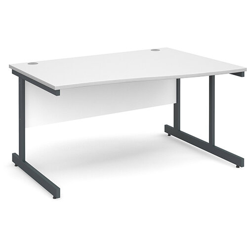 Contract 25 right hand wave desk 1400mm - graphite cantilever frame, white top