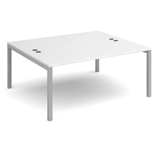 Connex back to back desks 1600mm x 1600mm - silver frame, white top