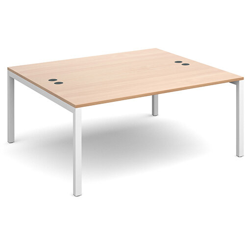 Connex back to back desks 1600mm x 1600mm - white frame, beech top