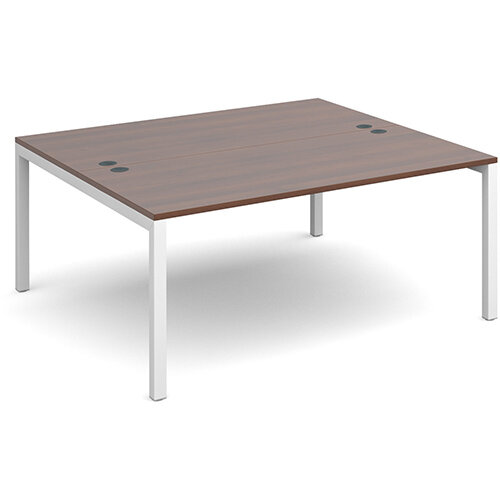 Connex back to back desks 1600mm x 1600mm - white frame, walnut top