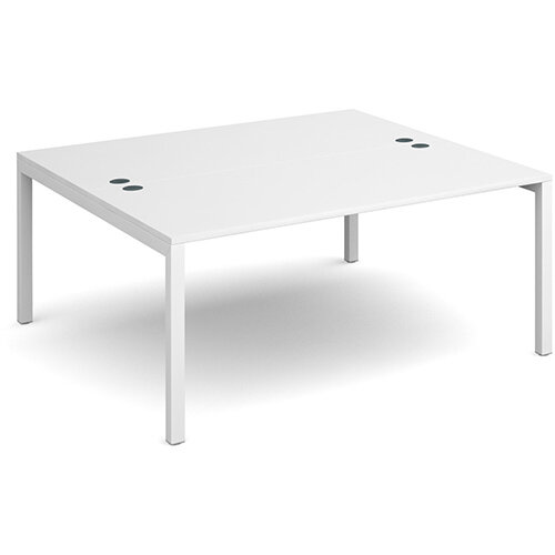 Connex back to back desks 1600mm x 1600mm - white frame, white top