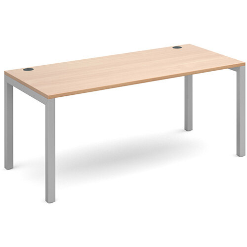Connex single desk 1600mm x 800mm - silver frame, beech top