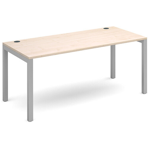 Connex single desk 1600mm x 800mm - silver frame, maple top