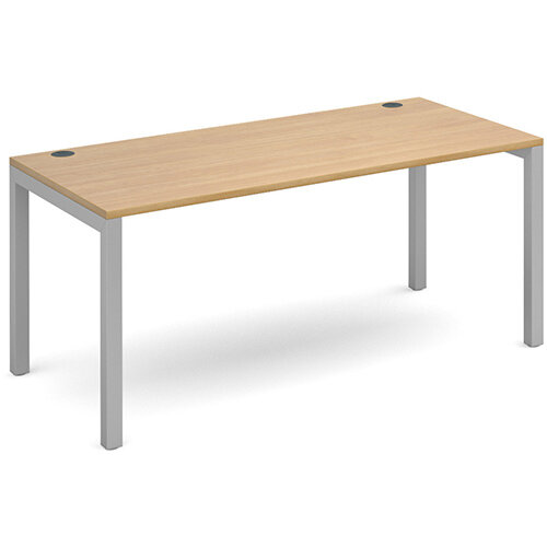 Connex single desk 1600mm x 800mm - silver frame, oak top