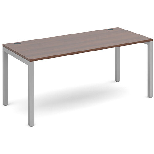 Connex single desk 1600mm x 800mm - silver frame, walnut top