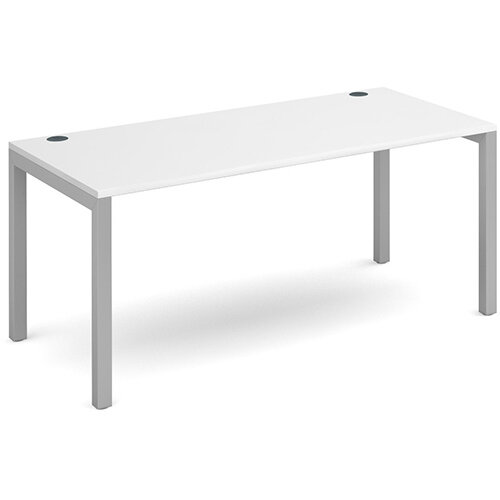 Connex single desk 1600mm x 800mm - silver frame, white top