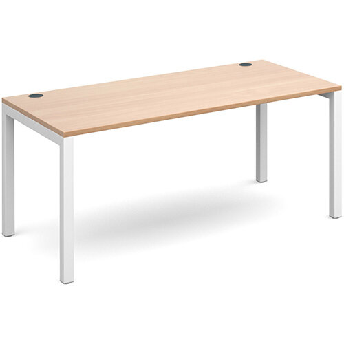 Connex single desk 1600mm x 800mm - white frame, beech top