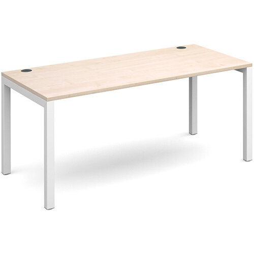 Connex single desk 1600mm x 800mm - white frame, maple top