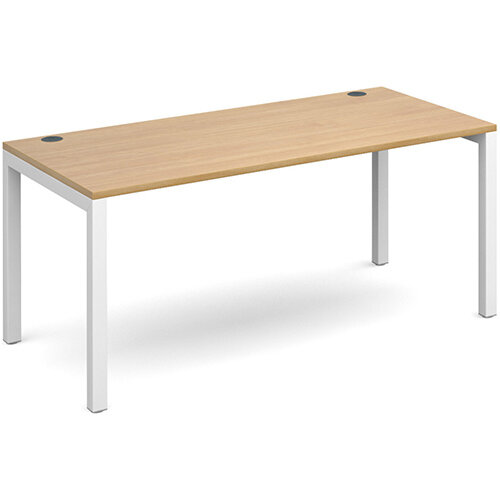 Connex single desk 1600mm x 800mm - white frame, oak top
