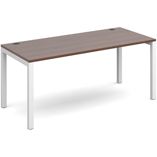 Connex single desk 1600mm x 800mm - white frame, walnut top