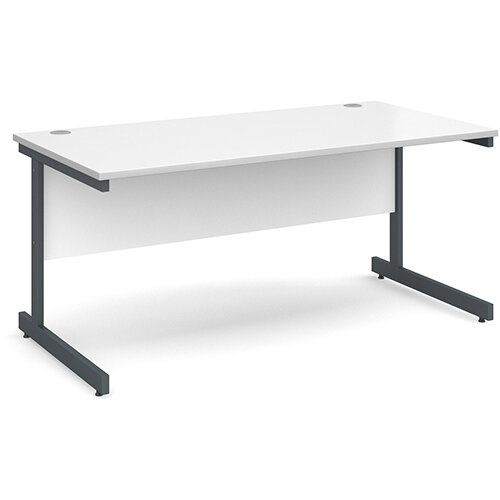Contract 25 straight desk 1600mm x 800mm - graphite cantilever frame, white top