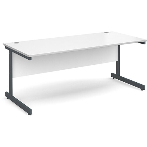 Contract 25 straight desk 1800mm x 800mm - graphite cantilever frame, white top
