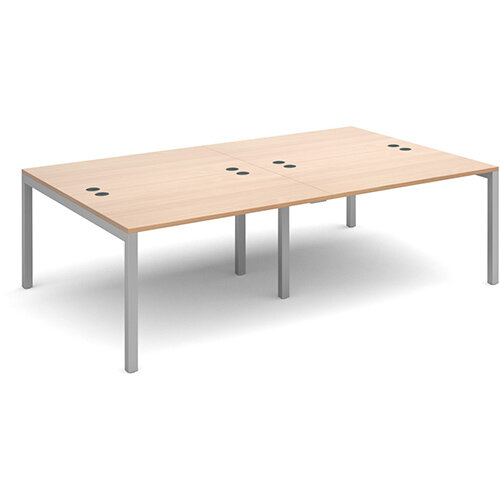 Connex double back to back desks 2400mm x 1600mm - silver frame, beech top