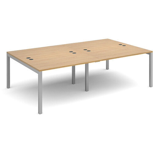 Connex double back to back desks 2400mm x 1600mm - silver frame, oak top