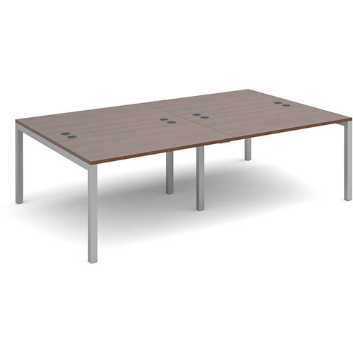 Connex double back to back desks 2400mm x 1600mm - silver frame, walnut top