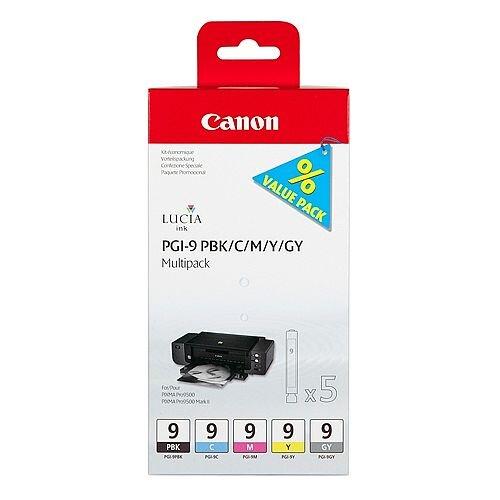 Canon PGI-9 5-Colour Multipack Ink Cartridges Black/Cyan/Magenta/Yellow/Grey 1034B011