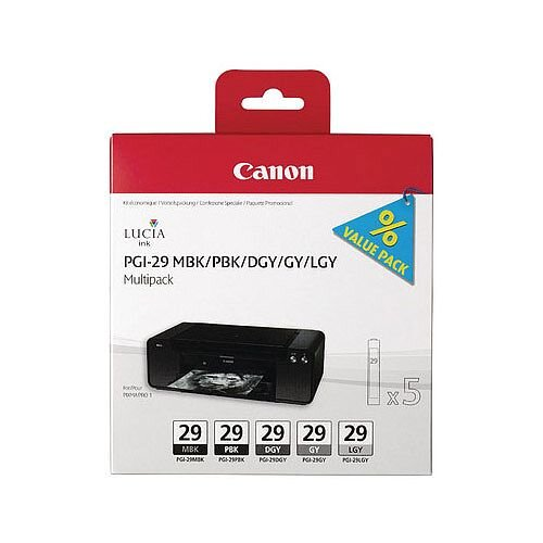 Canon PGI-29 Matte/Photo Black/Dark Grey/Grey/Light Grey/Chroma Optimiser Inkjet Cartridges 4868B018