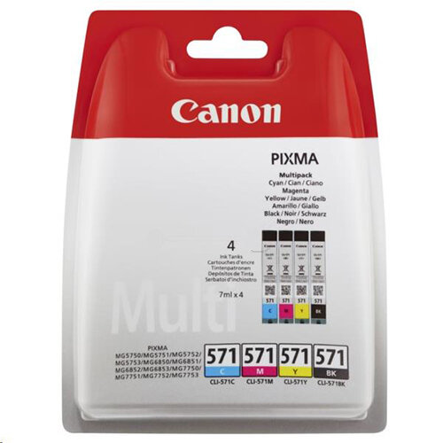 Canon CLI-571 Cyan/Magenta/Yellow/Black Inkjet Cartridges Multi Pack 0386C005
