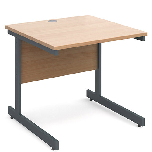 Contract 25 straight desk 800mm x 800mm - graphite cantilever frame, beech top