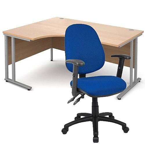 BUNDLE DEAL - Maestro 25 Left Hand Ergonomic L-Shaped Office Desk In Beech 1600mm Silver Cantilever Frame - With Vantage V102 Chair In Blue