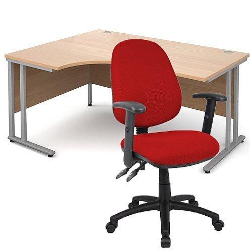 BUNDLE DEAL - Maestro 25 Left Hand Ergonomic L-Shaped Office Desk In Beech 1600mm Silver Cantilever Frame - With Vantage V102 Chair In Burgundy