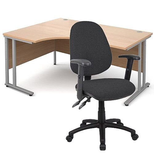 BUNDLE DEAL - Maestro 25 Left Hand Ergonomic L-Shaped Office Desk In Beech 1600mm Silver Cantilever Frame - With Vantage V102 Chair In Charcoal