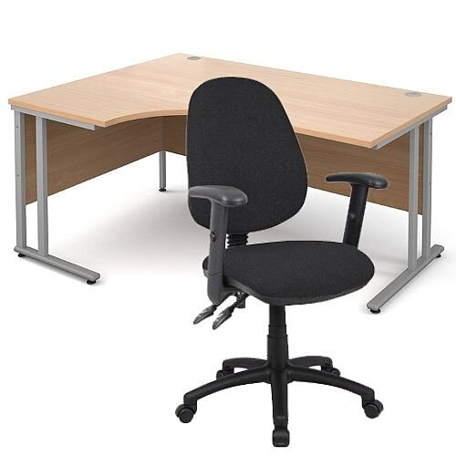 BUNDLE DEAL - Maestro 25 Left Hand Ergonomic L-Shaped Office Desk In Beech 1600mm Silver Cantilever Frame - With Vantage V102 Chair In Black