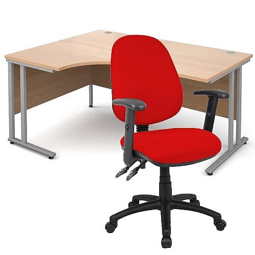BUNDLE DEAL - Maestro 25 Left Hand Ergonomic L-Shaped Office Desk In Beech 1600mm Silver Cantilever Frame - With Vantage V102 Chair In Red