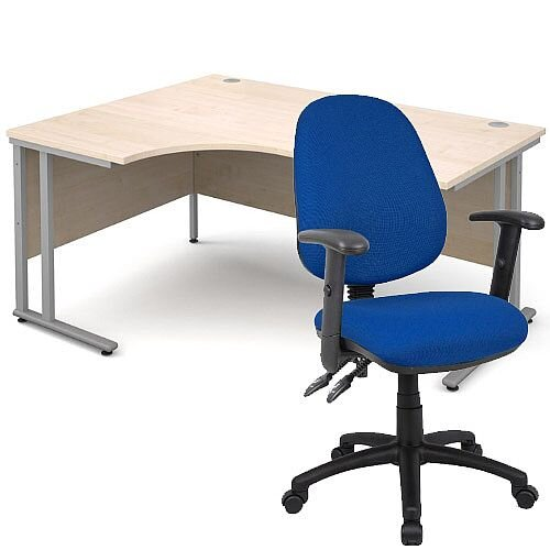 BUNDLE DEAL - Maestro 25 Left Hand Ergonomic L-Shaped Office Desk In Maple 1600mm Silver Cantilever Frame - With Vantage V102 Chair In Blue