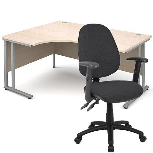 BUNDLE DEAL - Maestro 25 Left Hand Ergonomic L-Shaped Office Desk In Maple 1600mm Silver Cantilever Frame - With Vantage V102 Chair In Charcoal