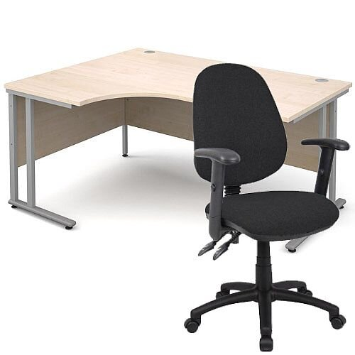 BUNDLE DEAL - Maestro 25 Left Hand Ergonomic L-Shaped Office Desk In Maple 1600mm Silver Cantilever Frame - With Vantage V102 Chair In Black