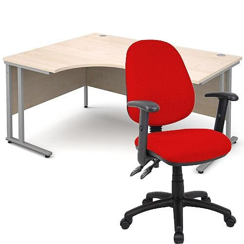 BUNDLE DEAL - Maestro 25 Left Hand Ergonomic L-Shaped Office Desk In Maple 1600mm Silver Cantilever Frame - With Vantage V102 Chair In Red