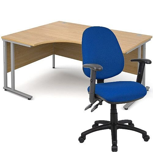BUNDLE DEAL - Maestro 25 Left Hand Ergonomic L-Shaped Office Desk In Oak 1600mm Silver Cantilever Frame - With Vantage V102 Chair In Blue