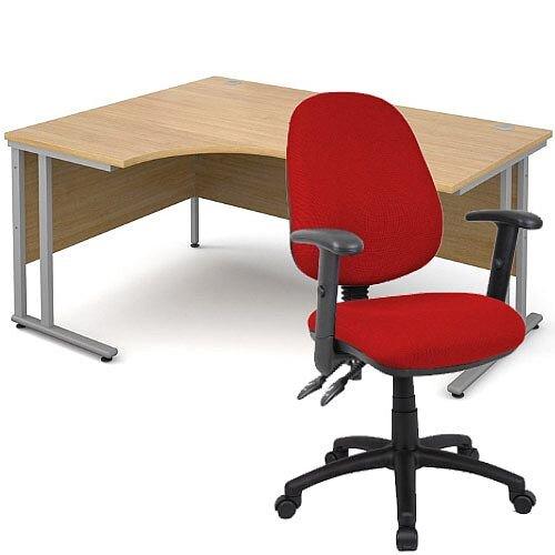 BUNDLE DEAL - Maestro 25 Left Hand Ergonomic L-Shaped Office Desk In Oak 1600mm Silver Cantilever Frame - With Vantage V102 Chair In Burgundy