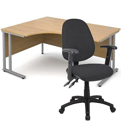 BUNDLE DEAL - Maestro 25 Left Hand Ergonomic L-Shaped Office Desk In Oak 1600mm Silver Cantilever Frame - With Vantage V102 Chair In Charcoal