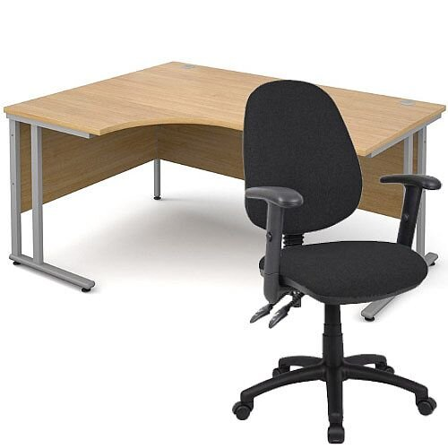 BUNDLE DEAL - Maestro 25 Left Hand Ergonomic L-Shaped Office Desk In Oak 1600mm Silver Cantilever Frame - With Vantage V102 Chair In Black