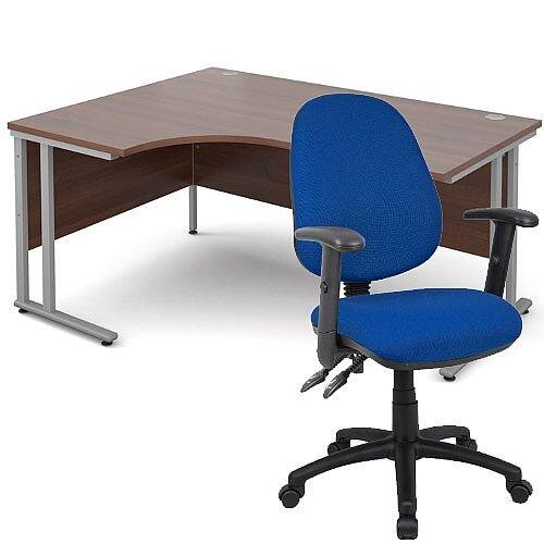 BUNDLE DEAL - Maestro 25 Left Hand Ergonomic L-Shaped Office Desk In Walnut 1600mm Silver Cantilever Frame - With Vantage V102 Chair In Blue