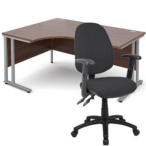 BUNDLE DEAL - Maestro 25 Left Hand Ergonomic L-Shaped Office Desk In Walnut 1600mm Silver Cantilever Frame - With Vantage V102 Chair In Charcoal