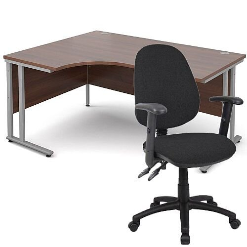 BUNDLE DEAL - Maestro 25 Left Hand Ergonomic L-Shaped Office Desk In Walnut 1600mm Silver Cantilever Frame - With Vantage V102 Chair In Black
