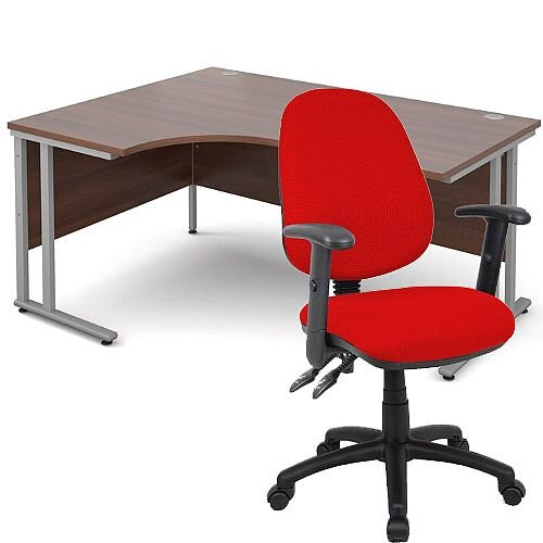 BUNDLE DEAL - Maestro 25 Left Hand Ergonomic L-Shaped Office Desk In Walnut 1600mm Silver Cantilever Frame - With Vantage V102 Chair In Red