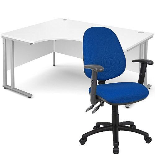 BUNDLE DEAL - Maestro 25 Left Hand Ergonomic L-Shaped Office Desk In White 1600mm Silver Cantilever Frame - With Vantage V102 Chair In Blue