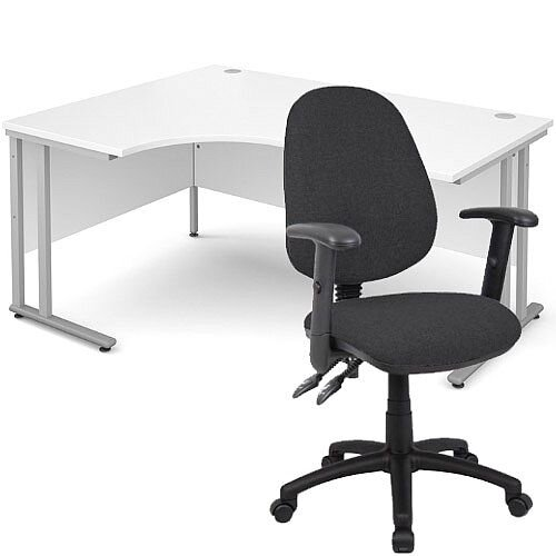 BUNDLE DEAL - Maestro 25 Left Hand Ergonomic L-Shaped Office Desk In White 1600mm Silver Cantilever Frame - With Vantage V102 Chair In Charcoal