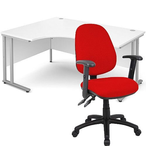 BUNDLE DEAL - Maestro 25 Left Hand Ergonomic L-Shaped Office Desk In White 1600mm Silver Cantilever Frame - With Vantage V102 Chair In Red