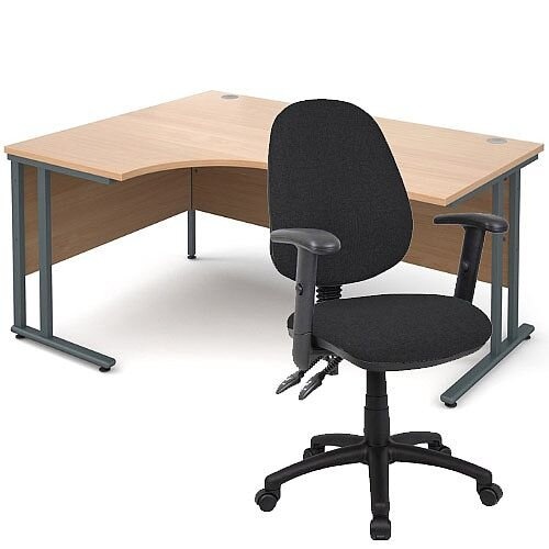 BUNDLE DEAL - Maestro 25 Left Hand Ergonomic L-Shaped Office Desk In Beech 1600mm Graphite Cantilever Frame - With Vantage V102 Chair In Black