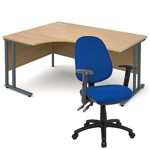 BUNDLE DEAL - Maestro 25 Left Hand Ergonomic L-Shaped Office Desk In Oak 1600mm Graphite Cantilever Frame - With Vantage V102 Chair In Blue