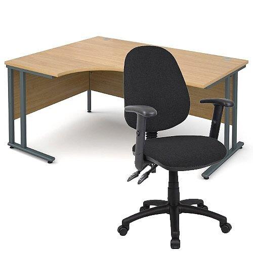 BUNDLE DEAL - Maestro 25 Left Hand Ergonomic L-Shaped Office Desk In Oak 1600mm Graphite Cantilever Frame - With Vantage V102 Chair In Black